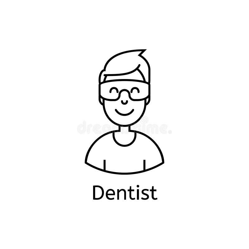 Icono dental médico Ejemplo del dentista de sexo masculino sonriente amistoso con los vidrios stock de ilustración