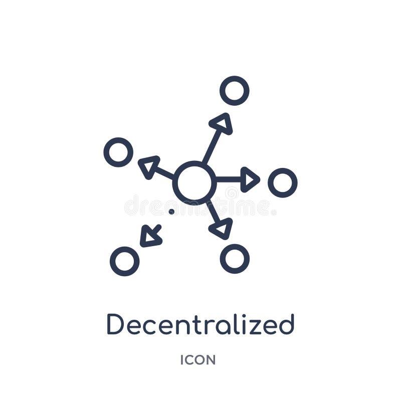 Icono descentralizado linear de la economía de Cryptocurrency y de la colección del esquema de las finanzas Línea fina vector des ilustración del vector
