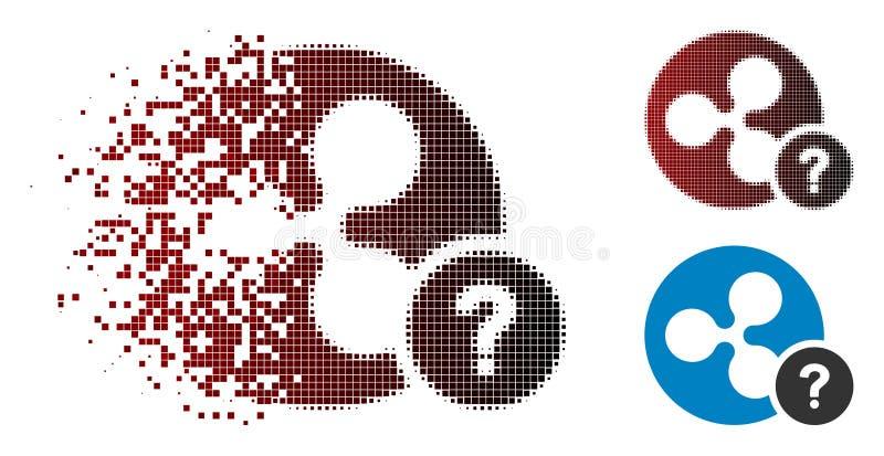 Icono desconocido fracturado de la situación de la moneda de semitono de la ondulación del pixel libre illustration