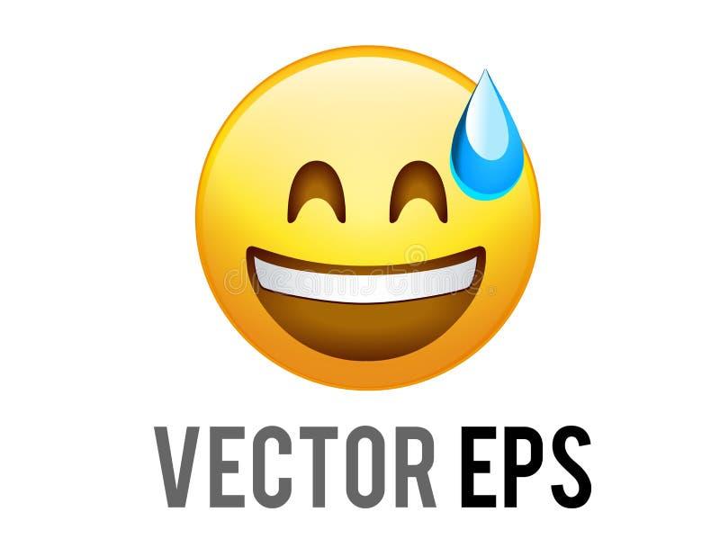 Icono descuidado amarillo de la cara de la pendiente del vector con sudor azul stock de ilustración