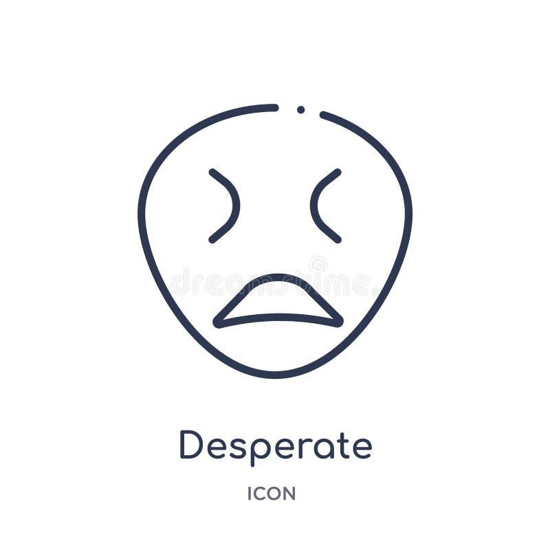 Icono desesperado linear de la colección del esquema de las emociones Línea fina vector desesperado aislado en el fondo blanco de libre illustration