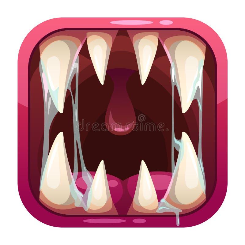Icono despredador del app de la boca stock de ilustración