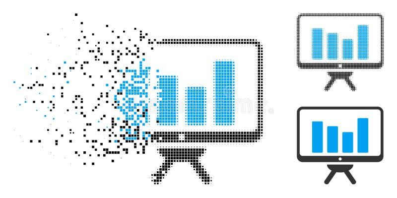 Icono destrozado de Dot Halftone Bar Chart Monitoring stock de ilustración