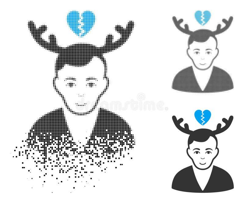 Icono destrozado de Dot Halftone Deceived Horned Husband con la cara libre illustration