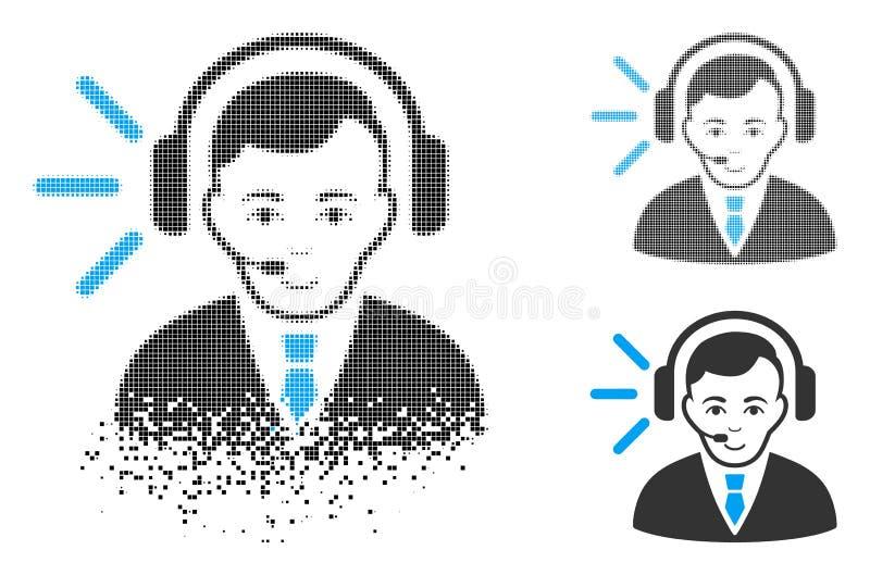 Icono Destructed de Dot Halftone Call Center Operator con la cara stock de ilustración