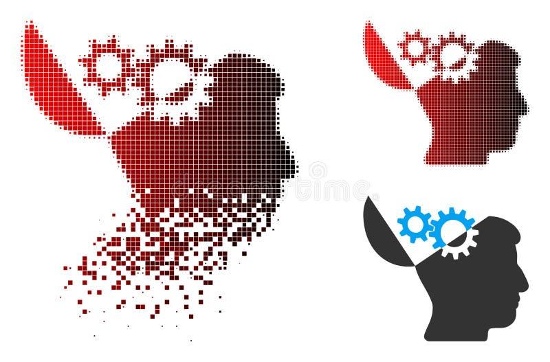 Icono Destructed de Dot Halftone Open Mind Gears ilustración del vector