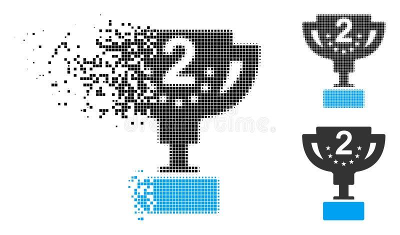 Icono Destructed de Dot Halftone Second Prize Cup stock de ilustración