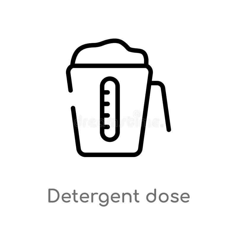 icono detergente del vector de la dosis del esquema l?nea simple negra aislada ejemplo del elemento del concepto de la higiene Mo stock de ilustración