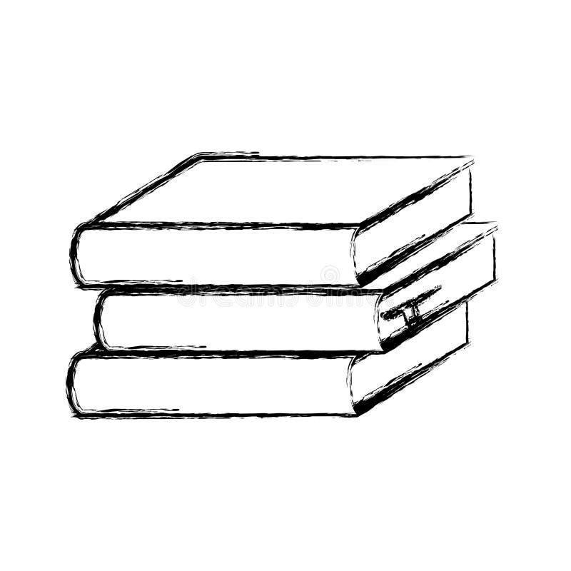 icono determinado borroso de los libros de escuela de la pila de la silueta libre illustration