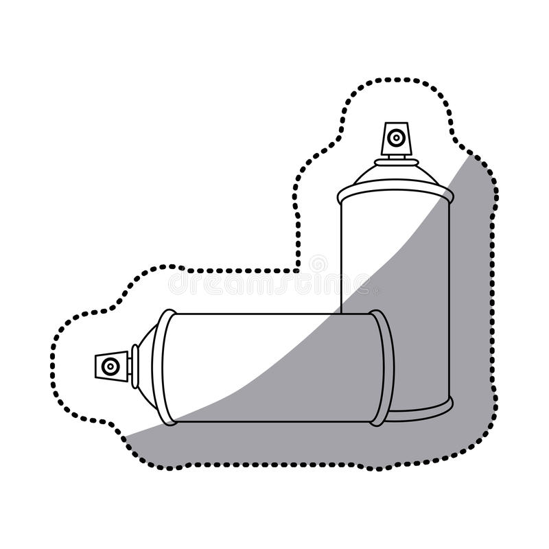 icono determinado de la botella del espray de aerosol del contorno de la etiqueta engomada plano libre illustration