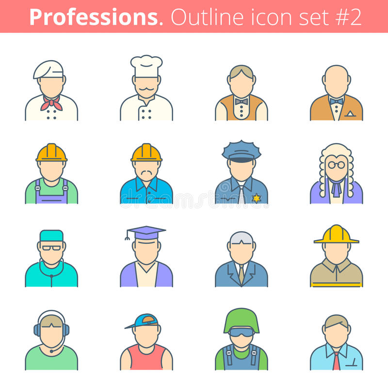 Icono #1 determinado del esquema del color de las profesiones y de los empleos de la gente stock de ilustración
