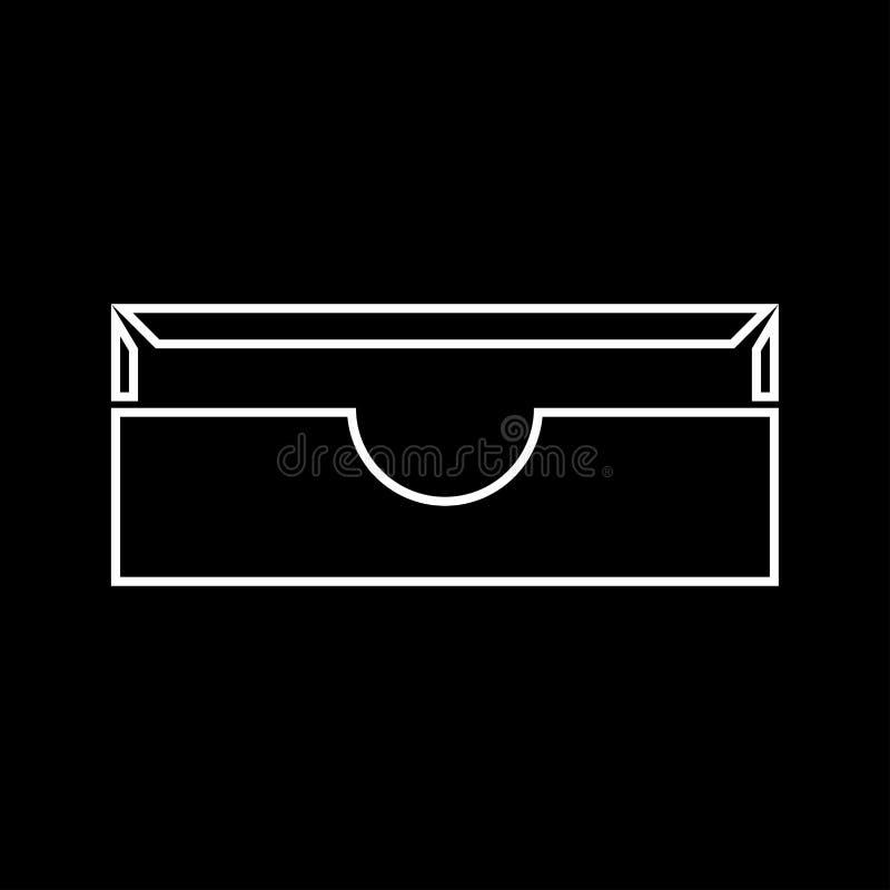 Icono determinado del gris inmóvil de la bandeja del papel stock de ilustración