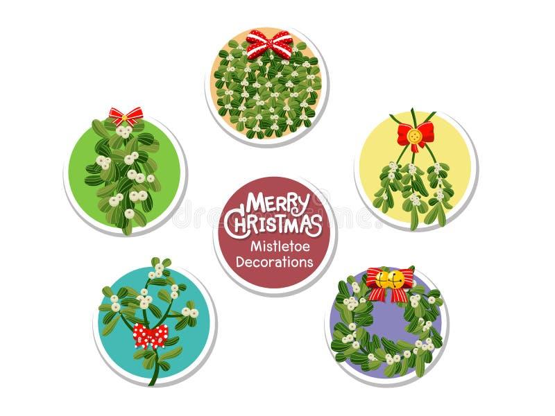 Icono determinado del muérdago de la Navidad en fondo del color Feliz Christma stock de ilustración