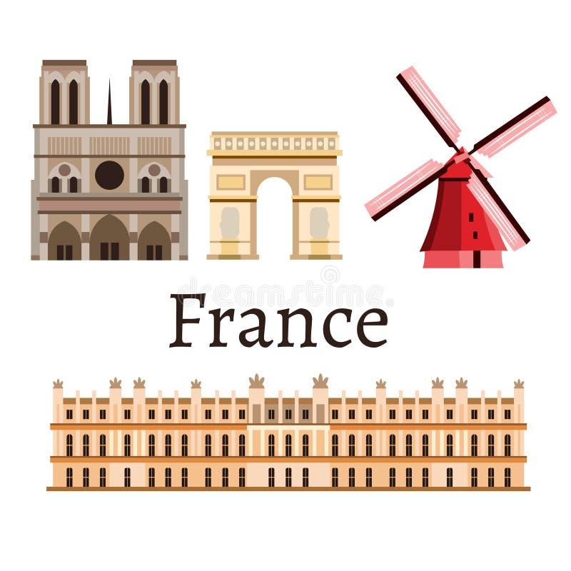 Icono determinado del romance de Francia stock de ilustración