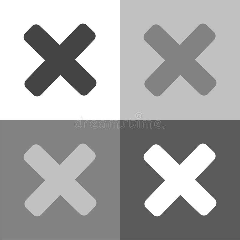 Icono determinado del vector cruzado de la prohibición en color blanco-gris-negro ilustración del vector