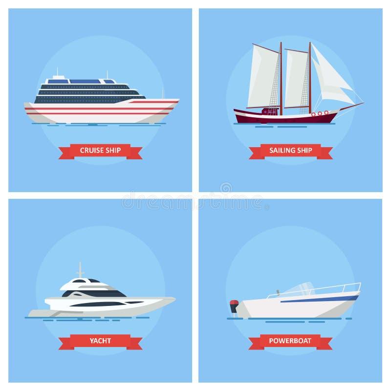 Icono determinado del vector de las naves y de los barcos en un estilo plano libre illustration