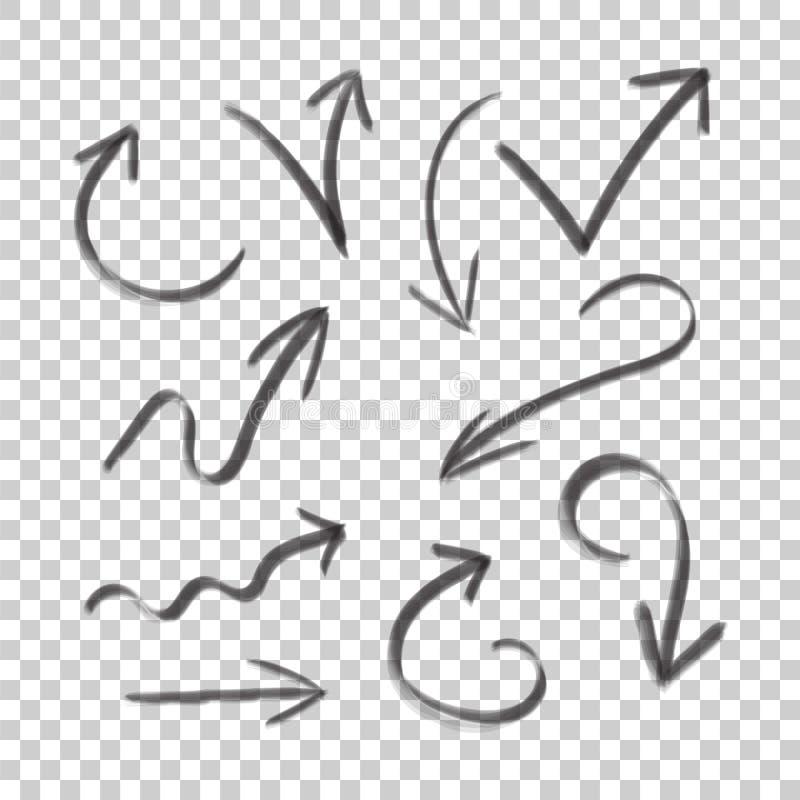 Icono determinado dibujado mano de la flecha Colección de símbolos del bosquejo del lápiz ilustración del vector