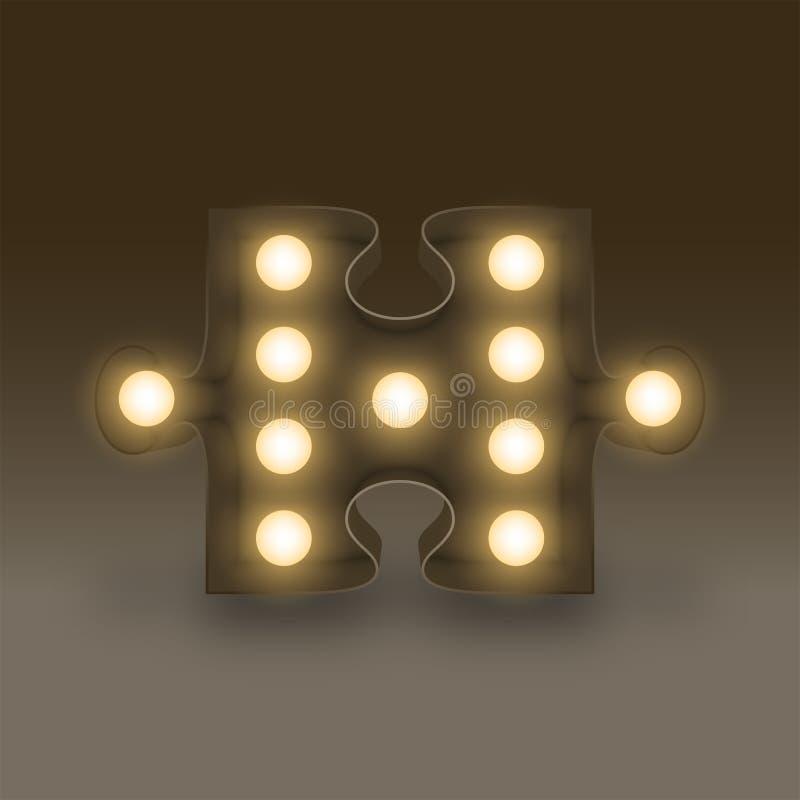 Icono determinado incandescente de la muestra del rompecabezas de la caja de la bombilla del símbolo, ejemplo 3D retro stock de ilustración