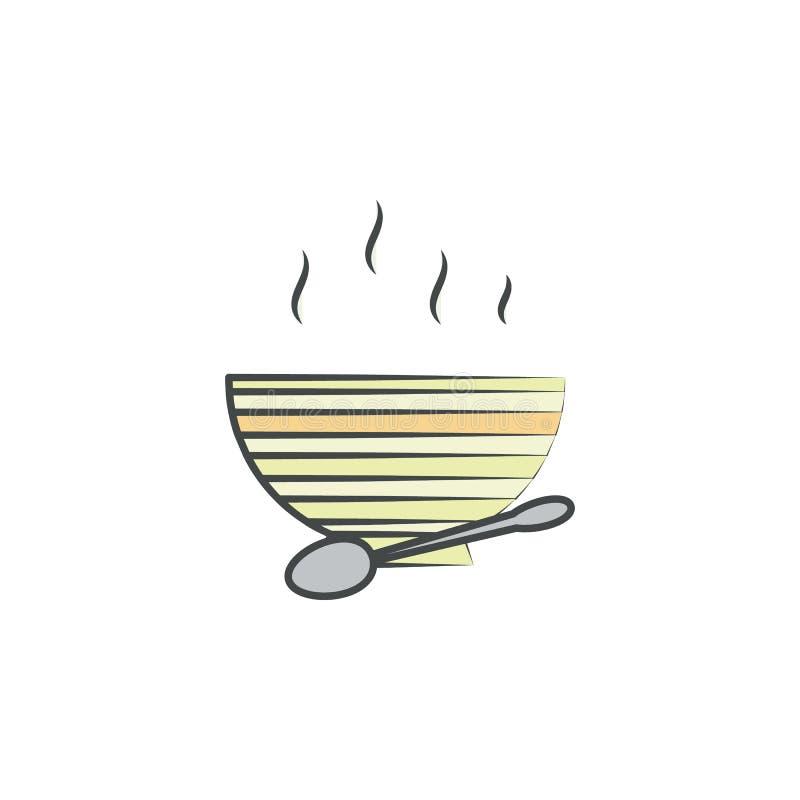 Icono dibujado mano coloreado platos calientes Elemento del icono del otoño para los apps móviles del concepto y del web Los plat stock de ilustración