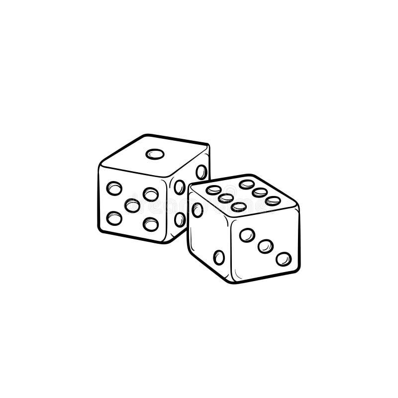 Icono dibujado mano del bosquejo del backgammon stock de ilustración