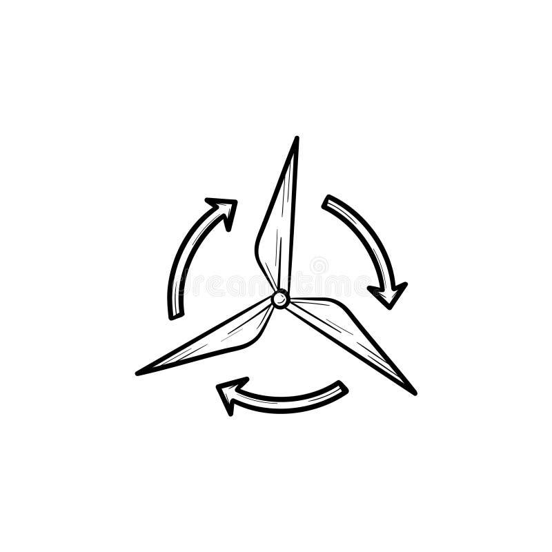 Icono dibujado mano del bosquejo del generador de viento ilustración del vector