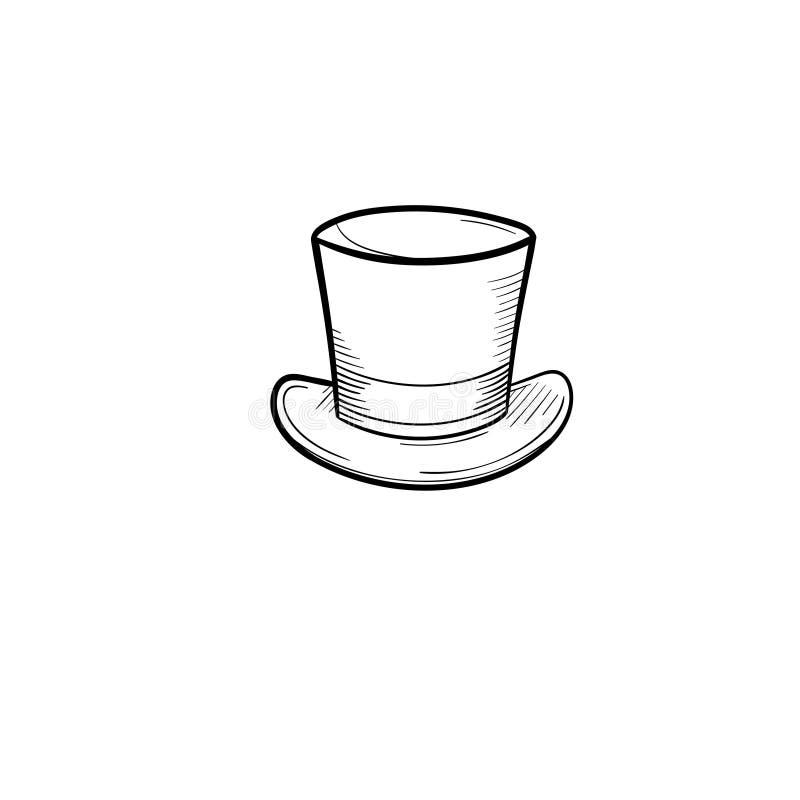 Icono dibujado mano del bosquejo del sombrero de copa ilustración del vector