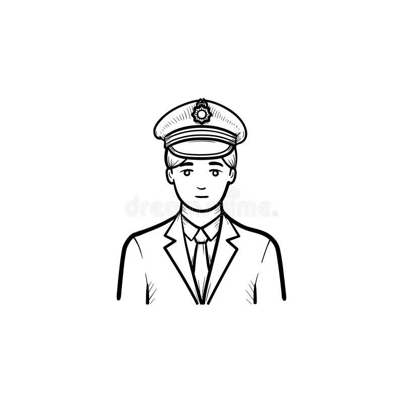Icono dibujado mano del garabato del esquema del conductor de tren libre illustration
