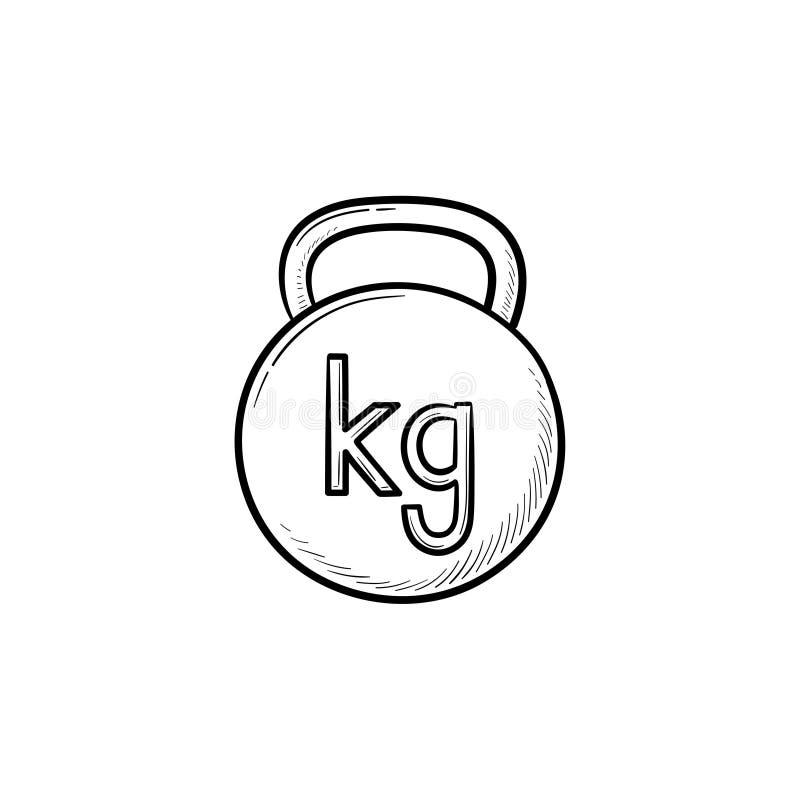 Icono dibujado mano del garabato del esquema de Kettlebell stock de ilustración
