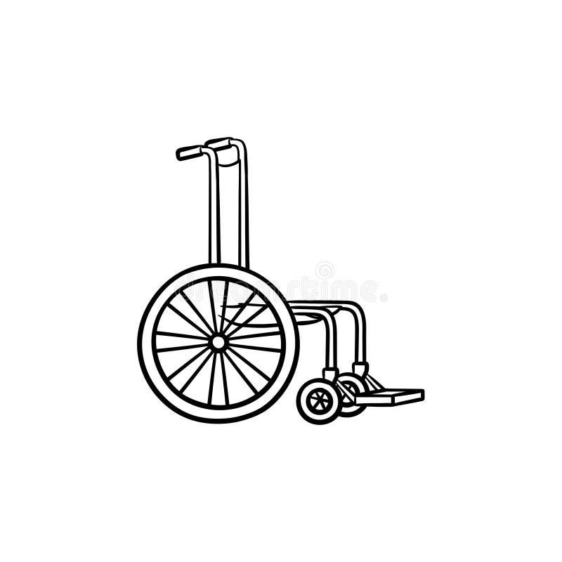 Icono dibujado mano del garabato del esquema de la silla de ruedas stock de ilustración
