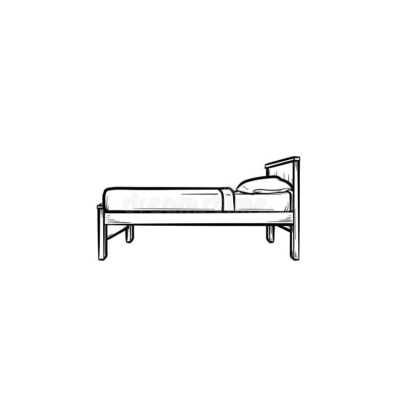 Icono dibujado mano del garabato del esquema de la sola cama stock de ilustración