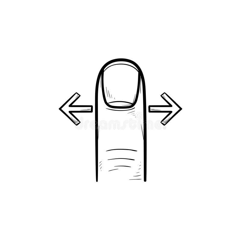 Icono dibujado mano del garabato del esquema de los gestos del golpe fuerte del finger stock de ilustración