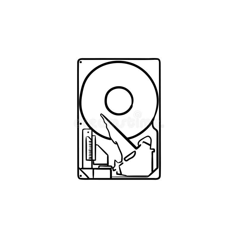 Icono dibujado mano del garabato del esquema del disco duro ilustración del vector