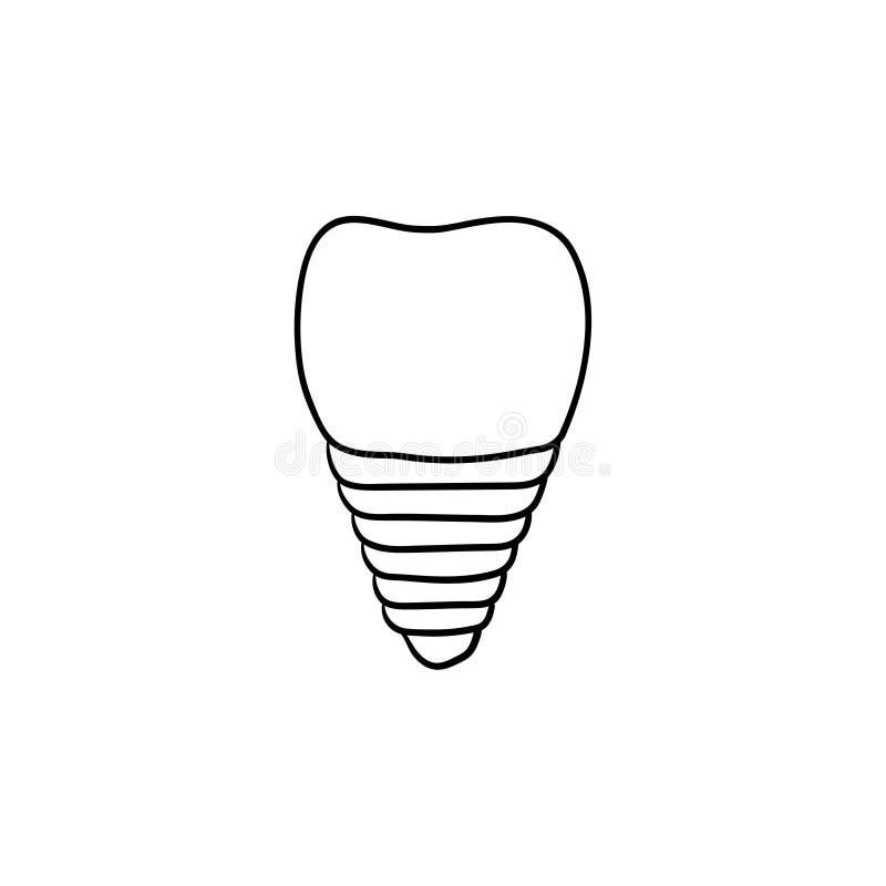Icono dibujado mano del garabato del esquema del implante dental libre illustration