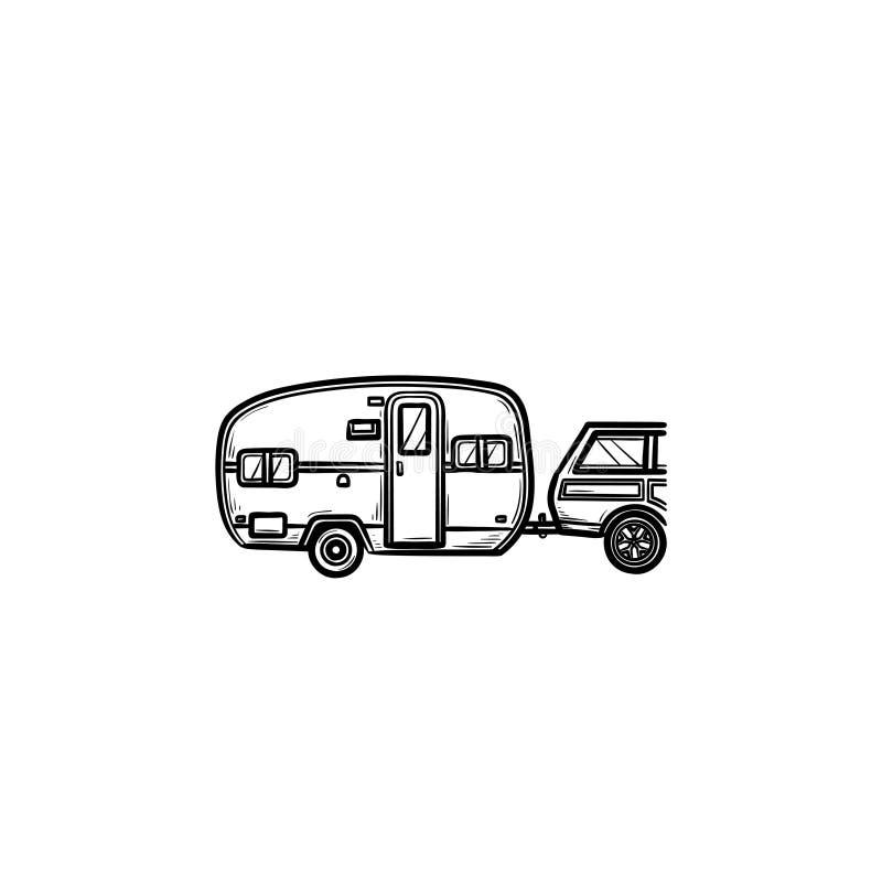 Icono dibujado mano del garabato del esquema del viaje del campista ilustración del vector