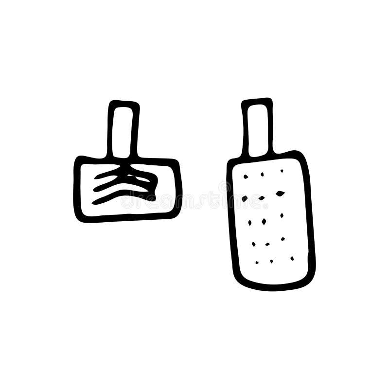 Icono dibujado mano del garabato del freno y del acelerador Ske negro dibujado mano ilustración del vector