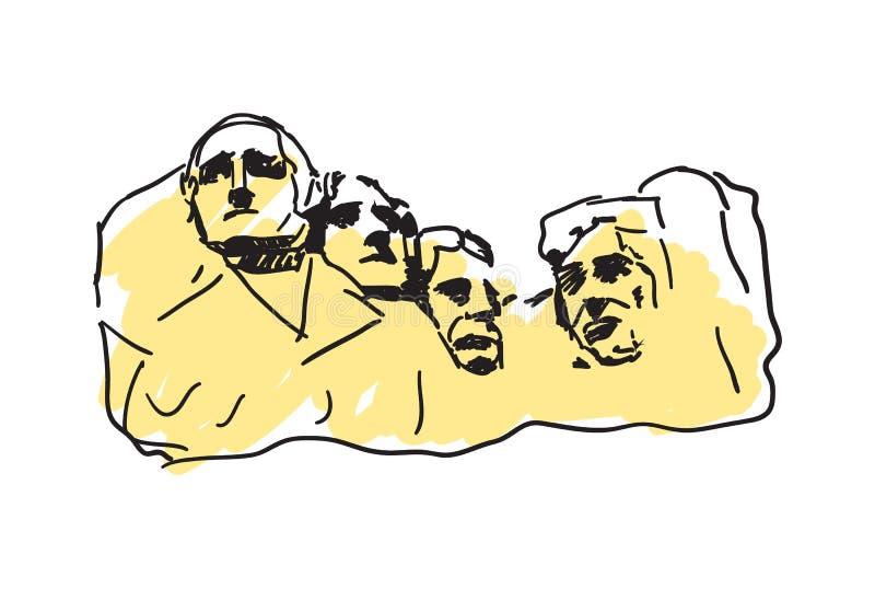 Icono dibujado mano del monte Rushmore libre illustration