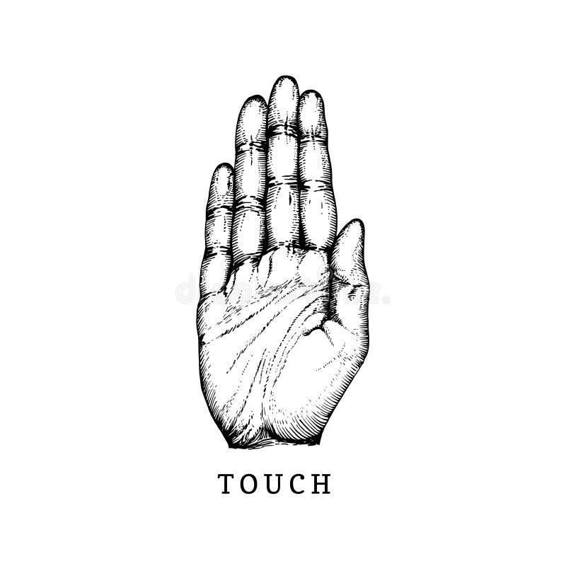 Icono dibujado mano del sentido del tacto en estilo grabado Ejemplo del vector de la mano táctil del símbolo stock de ilustración