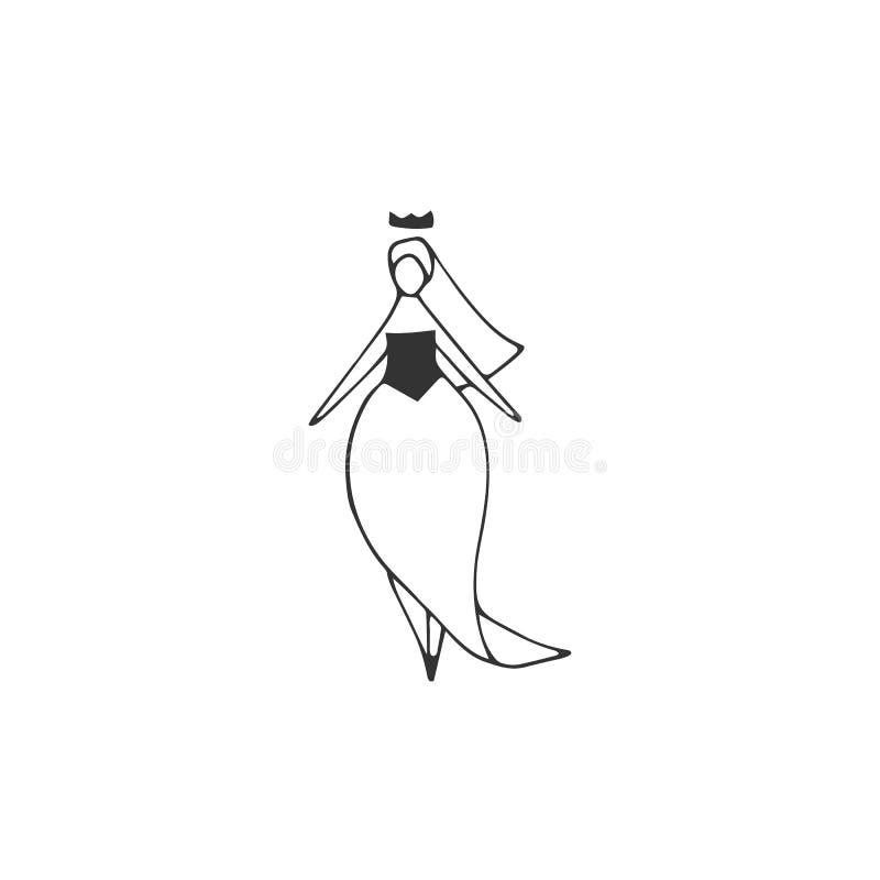 Icono dibujado mano del vector Mujer gorda atractiva en vestido de boda Positivo del cuerpo, concepto del tama?o extra grande libre illustration