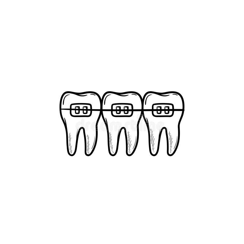 Icono dibujado mano dental del garabato del esquema de los apoyos stock de ilustración