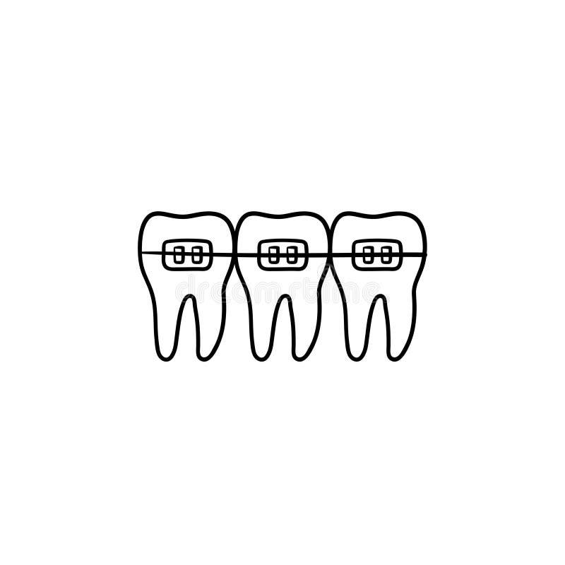 Icono dibujado mano dental del garabato del esquema de los apoyos ilustración del vector