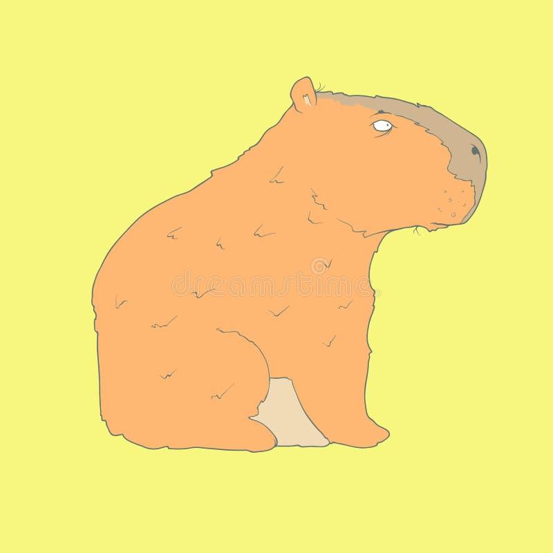 Icono dibujado mano plana de un capybara lindo ilustración del vector