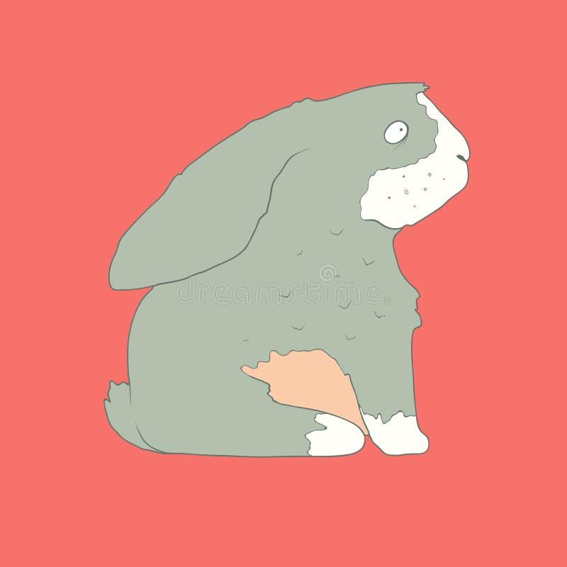 Icono dibujado mano plana de un conejo lindo ilustración del vector
