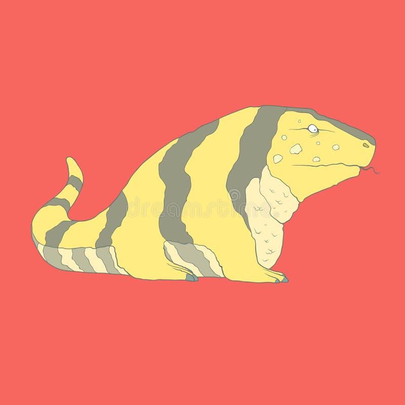 Icono dibujado mano plana de un tegu de oro lindo stock de ilustración