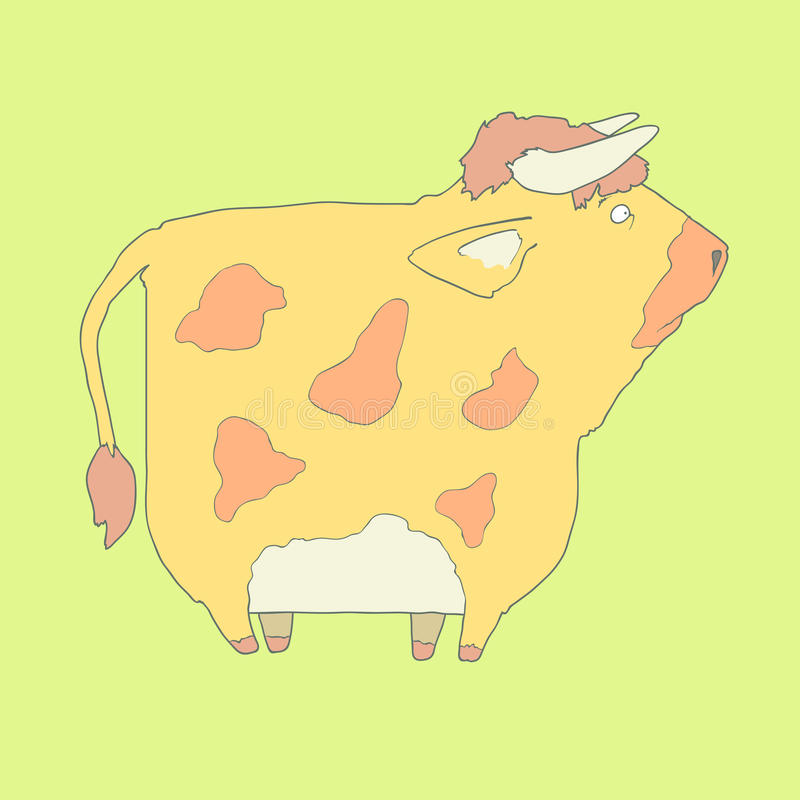 Icono dibujado mano plana de una vaca linda libre illustration