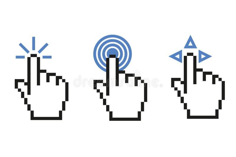 Icono digital de las funciones del indicador de ratón ilustración del vector