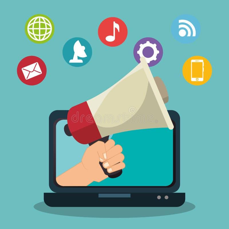 icono digital del comercio electrónico del márketing libre illustration