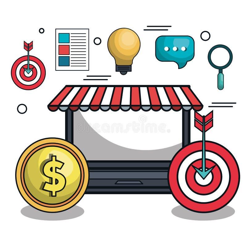 icono digital del comercio electrónico del márketing stock de ilustración