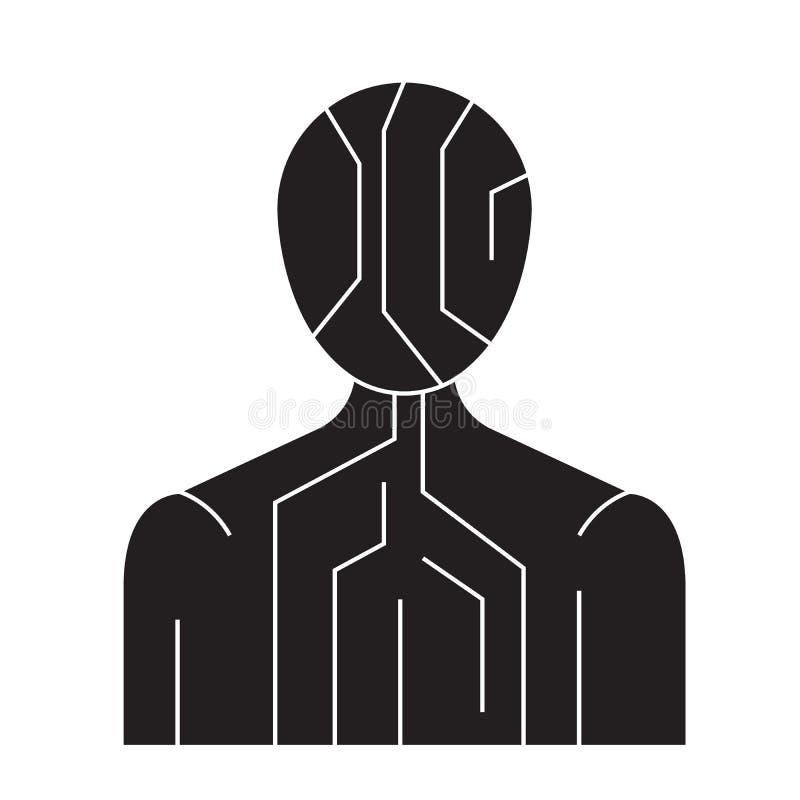 Icono digital del concepto del vector del negro de la estructura del cuerpo Ejemplo plano de la estructura digital del cuerpo, mu stock de ilustración