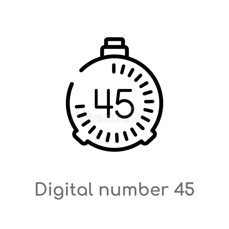 icono digital del vector del número 45 del esquema línea simple negra aislada ejemplo del elemento del otro concepto Movimiento E libre illustration
