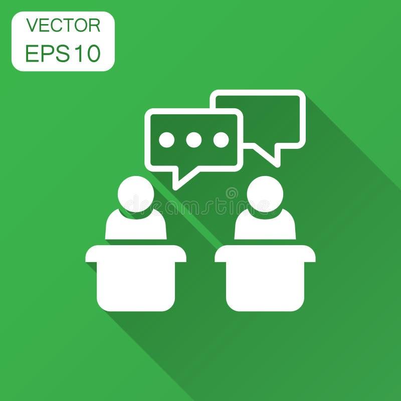 Icono diplomático del discusión en estilo plano Ejemplo presidencial del vector de los discusiones con la sombra larga Negocio de ilustración del vector